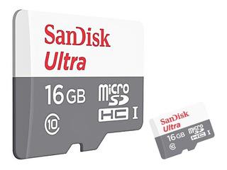 Memoria Microsd Sandisk 16gb C10 80 Read Ideal Fhd C/ Adapta