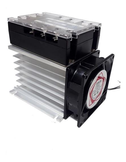 Relé Estado Sólido Trifásico Ssr 40a + Dissipador + Cooler