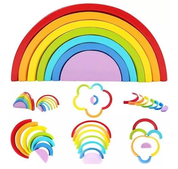 Brinquedo Educativo - Arco Iris Waldorf Madeira Colorida