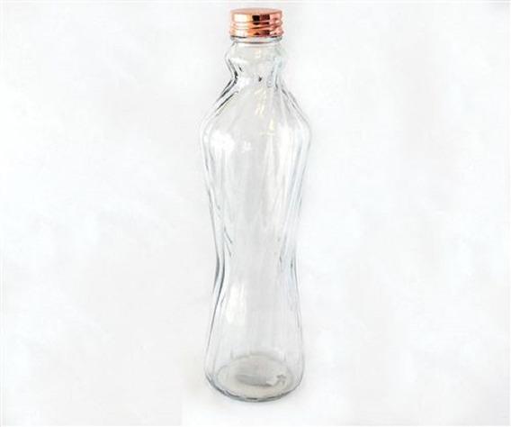 Botella De Vidrio Facetado Para Agua ,jugos Con Tapa Cobre