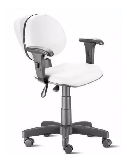Cadeira Ergonômica Nr17 Back System Com Braços Branca Tsmob