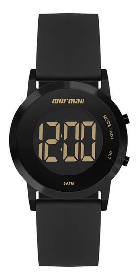 Relógio Feminino Preto Digital Mormaii Pulseira De Silicone