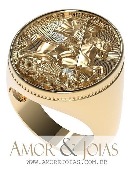 Anel Grande São Jorge Guerreiro Ouro 18k