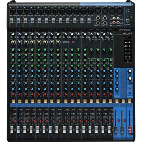 Mesa De Som Analógica 20 Canais Mg20 Preta Yamaha