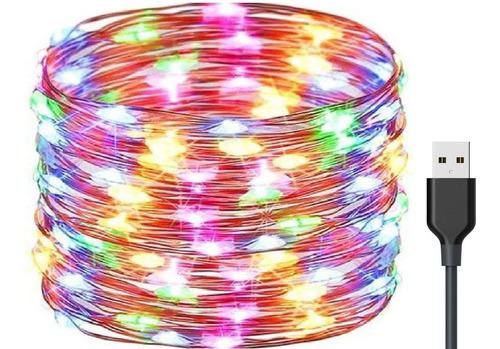 Guirnalda De Luces Multicolor Diy Decoración 10m 100 Led Usb