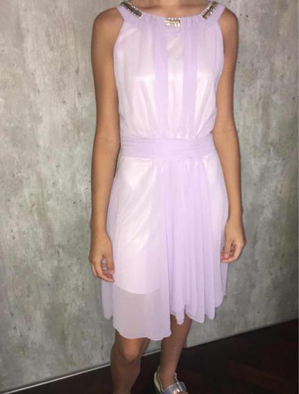 Vestido De Fiesta Color Violeta Clarito Nuevo Talle S