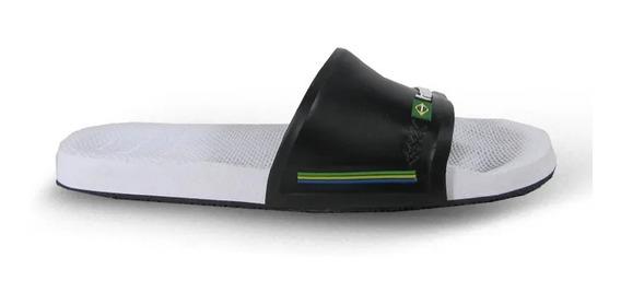 Chinela Havaiana Slide Brasil Blanco Negro Hombre Rcmdr