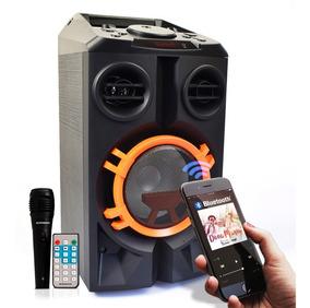Caixa De Som Bluetooth Amplificada 40w Rms Karaokê Mp3 Fm Sd