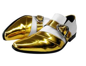 Sapato Masculino Em Couro Branco C/ Dourado Cod: 415