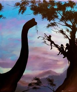 Cuadro Oleo Dinosaurio Recamara Infantil Pintado A Mano Art
