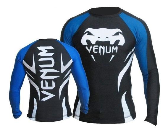 Rash Guard Lycra Venum Electron 2.0 Black Blue Mang Comprida
