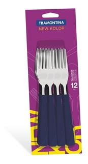 Set 12 Tenedores Tramontina New Kolor Azul 23162/910