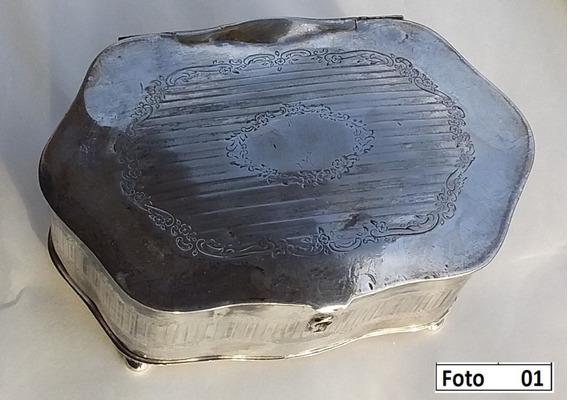 Antigo Porta Joias Banhado A Prata (16 Cm X 10 Cm X 6,3 Cm)