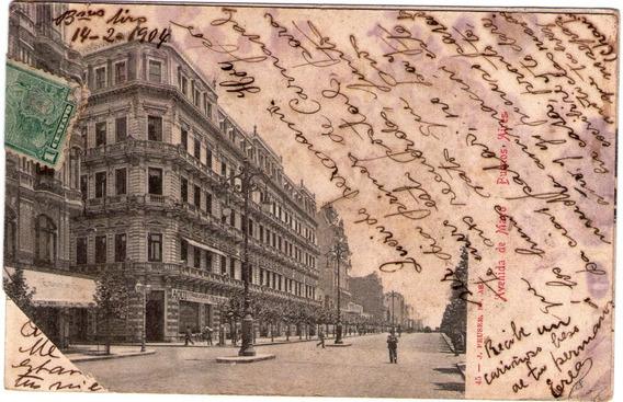 Tarjeta Postal Antigua Av. De Mayo 1904 Postal Correo Estamp