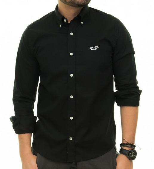 Camisa Social Oxford Hollister
