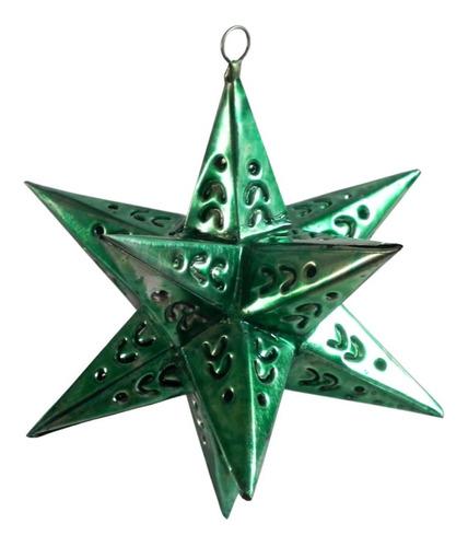 Imagen 1 de 5 de Esferas Navideñas Artesanales, 10  Estrellas De Latón Verde