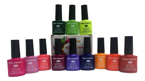 Imagen 1 de 4 de Gel Miss Cherry Gama E Gelish Semipermanente 12 Colores 10ml
