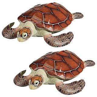 Diseño Toscano Back Sea Turtle Statue Set De 2