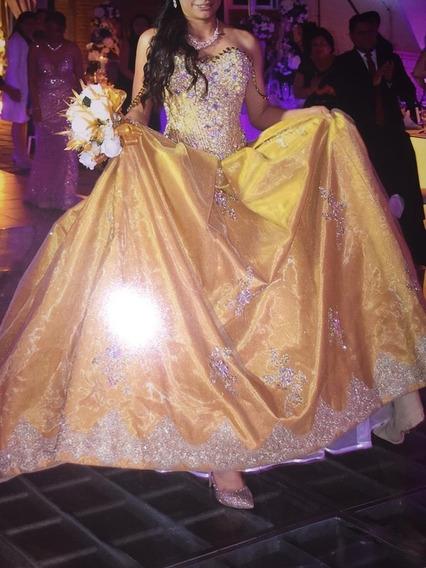 ¡oferta! Hermoso Vestido De Xv Dorado