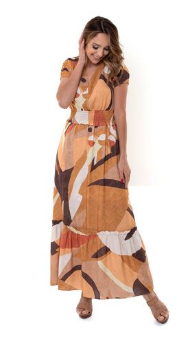 Vestido Kinara Longo Viscose Manga Curta Bege