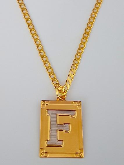 Cordão Corrente Masculino 80cm Letra F Folheado Ouro. C39f19