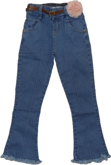 Calça Flare Jeans Menina Infantil Tamanho 02 Ao 12