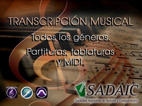 Registro Sadaic Transcripción De Partituras