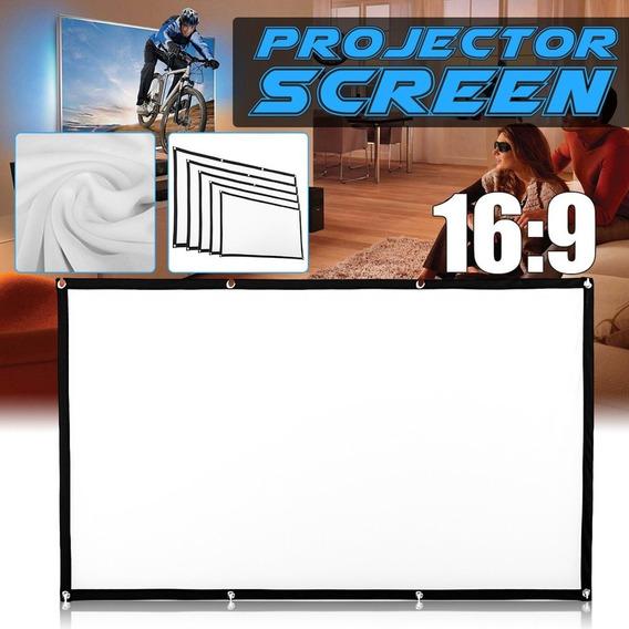 Portátil Dobrável Filme Projector Tela 16 : 9 De Projeção Hd