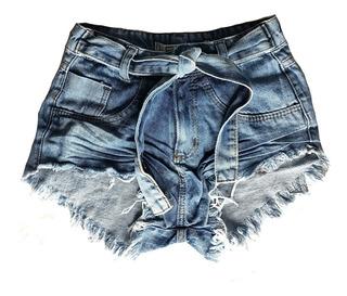 Shorts Jeans Feminino Manchado Lycra Hot Pants St001