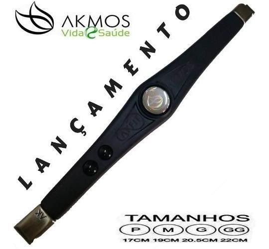 Pulseira Bracelete Akmos Pontos Magnéticos E Terapeutica %