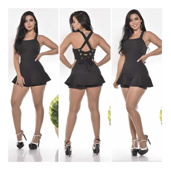 Macaquinho Malha Crepe Com Bojo Mulheres Fashions