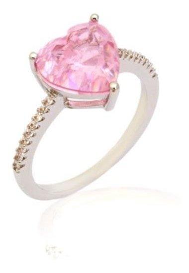 Anel Coração Cristal Quartzo Rosa Zircônia Semijoia Rodio
