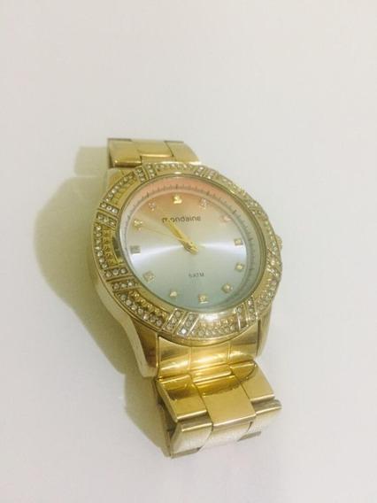 Relógio Mondaine Feminino Dourado Com Strass Swarovski