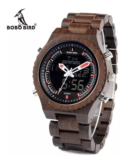 Relógio De Madeira Analogico Digital Bobo Bird