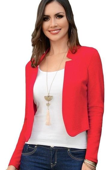Saco Dama Mujer Blazer Moda Formal Jaquard Rojo Verano Comod