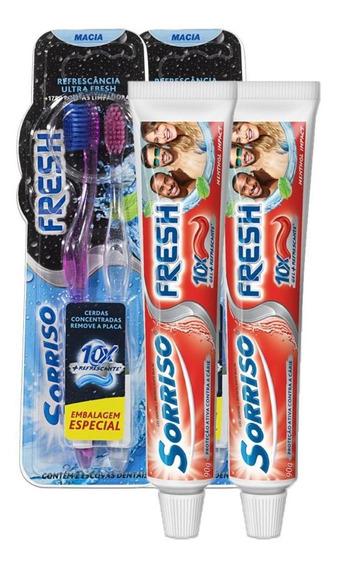 Kit 2 Cremes Dental Sorriso Fresh Menthol 90g + 4 Escovas