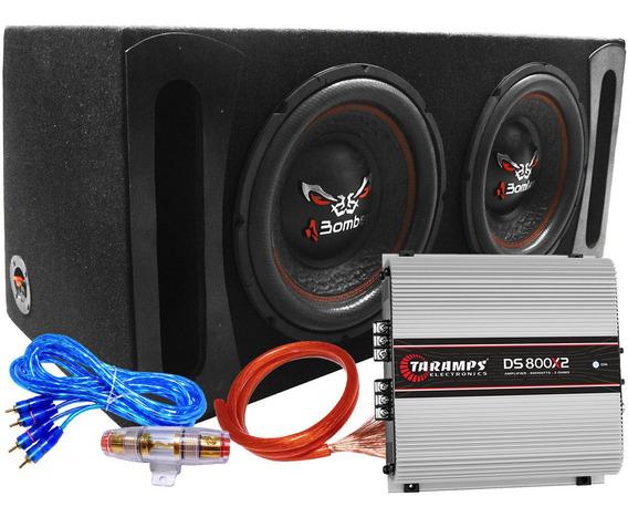 Subwoofer Doble Bicho Papao 12 400w Rms+ Amp800x2+ Caja+ Kit