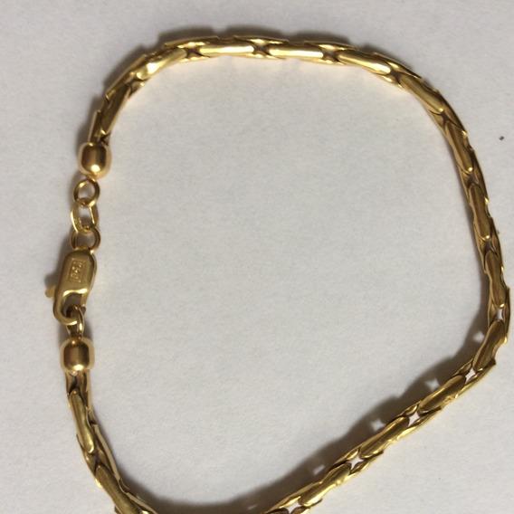 Pulseira De Ouro 18 K Elos Lindos Malha Palmeira Flexível