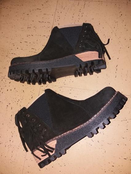Botas Cortas Negras Gamuza Mujer Con Flecos Talle 38 Nuevos