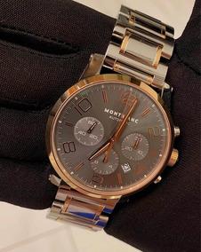 Montblanc Timewalker Chronograph Aço E Ouro Rosa Completo !