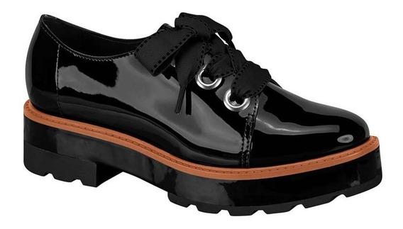 Sapato Oxford Verniz Tratorado Moleca Preto ( Forma Grande )