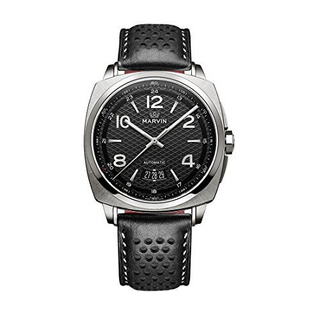 Relojes Swiss Made Marvin Automatic Men Con Esfera Negra Y C