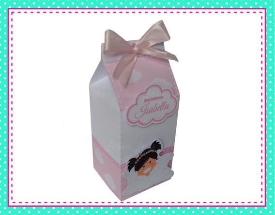 10 Caixa Milk Lembrancinha Tag Batizado Menina Anjinho Rosa