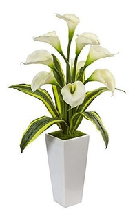 Nearly Natural 1462-wh Arreglo Floral Calla Lilies With Tro