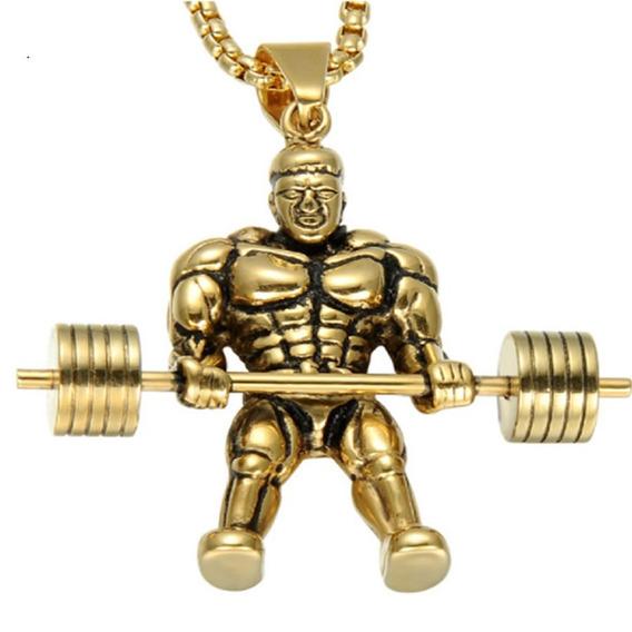 Colar Masculino Dourado Aço Esporte Peso Crossfit Namoro 297