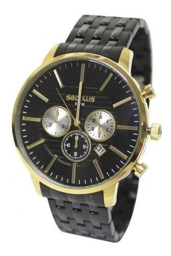 Relógio Seculus Masculino 20759gpsvha3 Preto/dourado