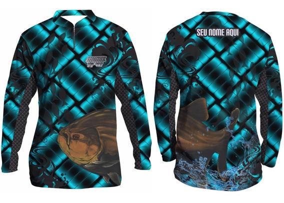 Camisa De Pesca Esportiva Uv50 Infantil Personalizada