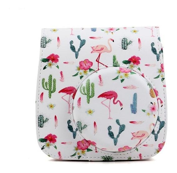 Bolsa Couro Sintético Alça Instax Mini 7 8 9 Flamingo Branca