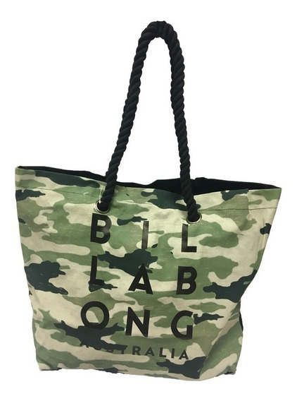 Bolso Billabong Beach Bag Camo Militar Blanco Mujer