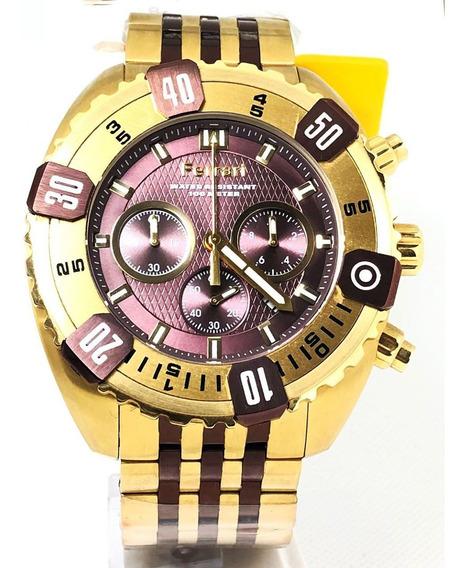 Relogio Dourado Marrom Com Cronografo Ferrari Fer7306